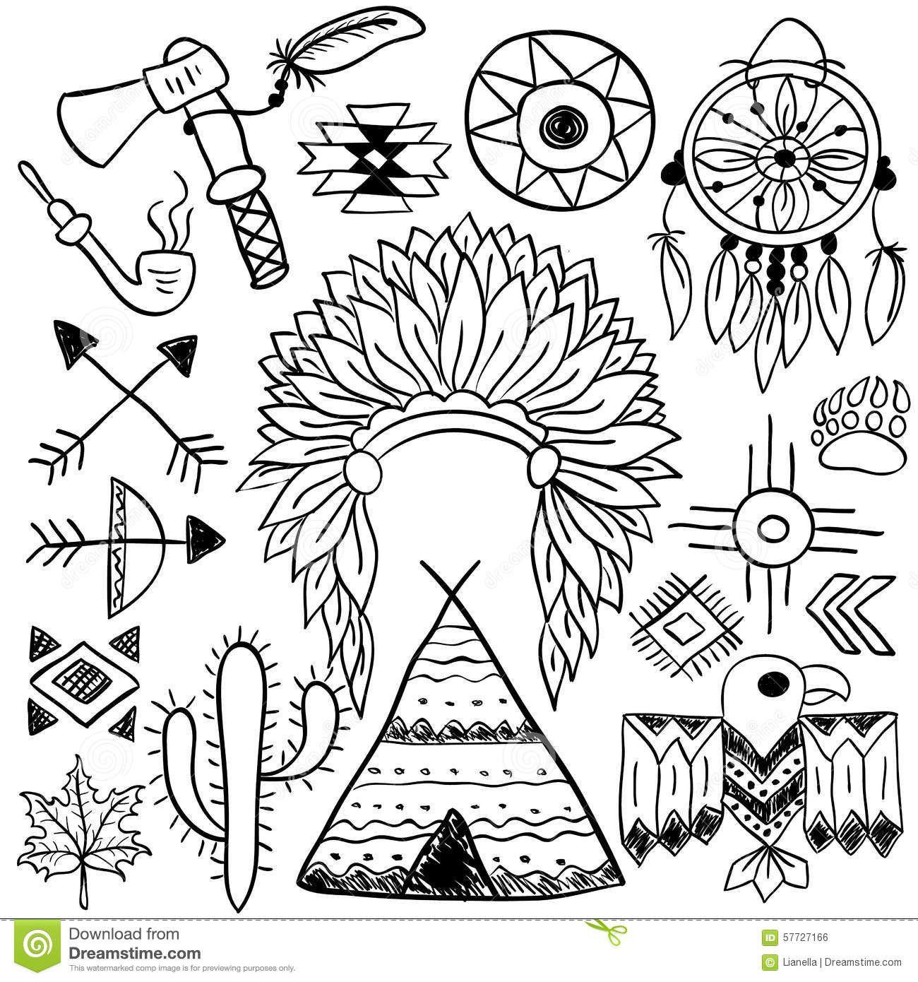Hand drawn doodle vector native american symbols set en 7