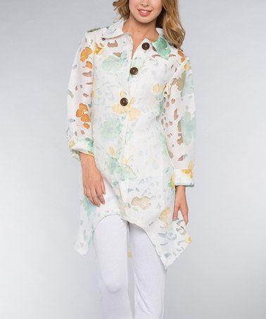 Look at this #zulilyfind! Mint & White Floral Linen-Blend Hi-Low Jacket - Women #zulilyfinds