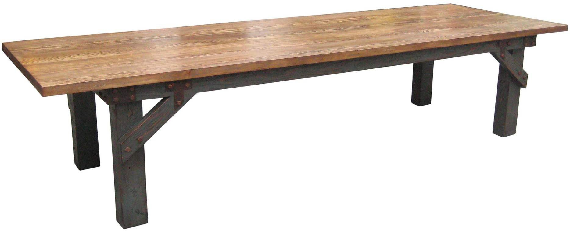 Industrial Work Bench Dining Table In Reclaimed Wood