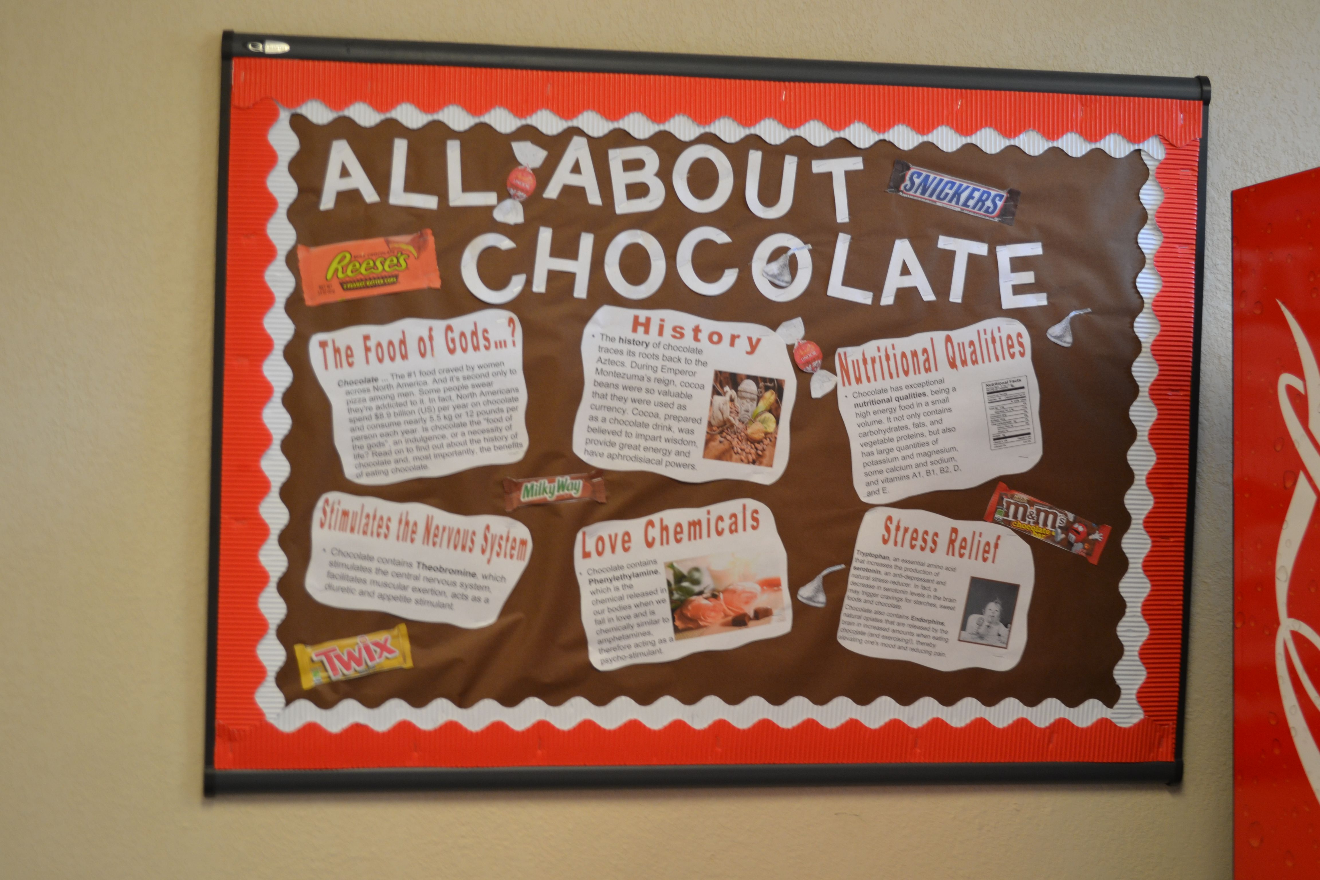 Chocolate Themed Board At Etsu Great Way To Promote