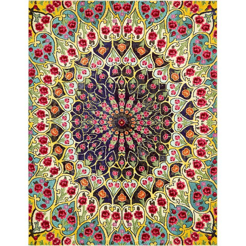 Newton Ikat Green Orange Yellow Area Rug With Images Eclectic