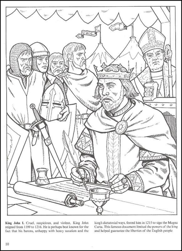 kings and queens of england coloring book additional photo inside page - Dover Coloring Books