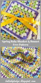 Easter Baby Blanket & Bonnet - Free Crochet Pattern #eastercrochetpatterns Lullaby Lodge: Easter Baby Blanket & Bonnet - Free Crochet Pattern #eastercrochetpatterns