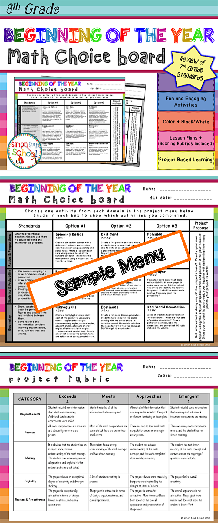 Beginning Of The Year Math Review Choice Board 8th Grade This Fun And Engaging Choice Board Is An Amazing Dif Math Choice Boards Math Review 7th Grade Math [ 1728 x 720 Pixel ]