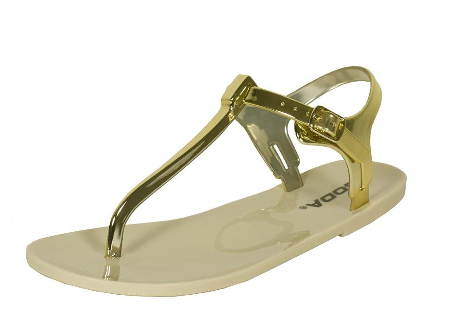62c0848a779d07 Soda Women s Ian Jelly Flat Thong Ankle Strap Sandals in Metallic Gold     Hurry! Check out this great product   Jelly Sandals