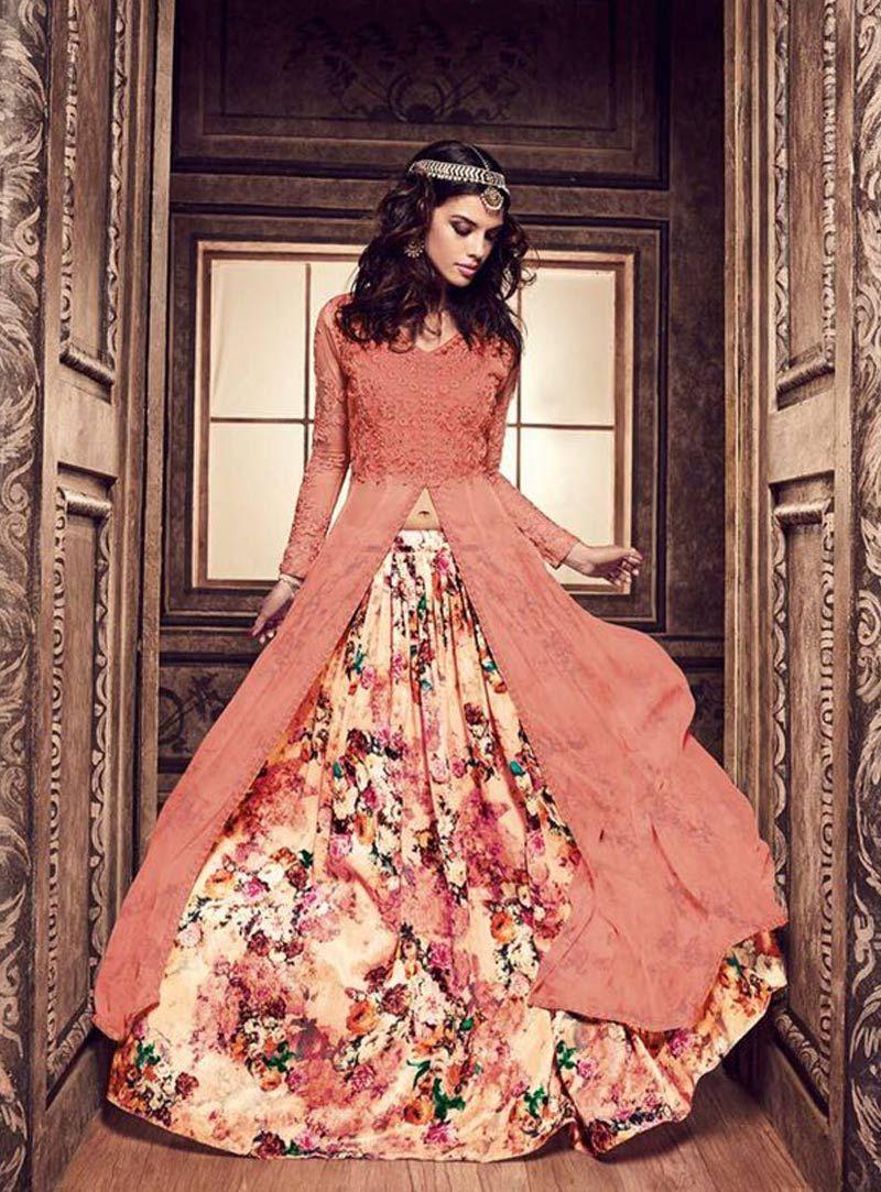 Buy Peach Banarasi Silk Indo Western Lehenga Choli 79694 online at ...