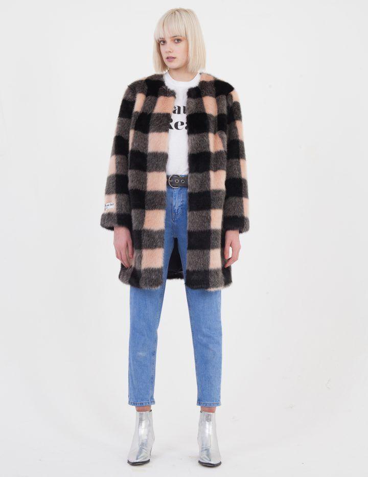 7c162f18107c Jakke Faux Fur Checkered