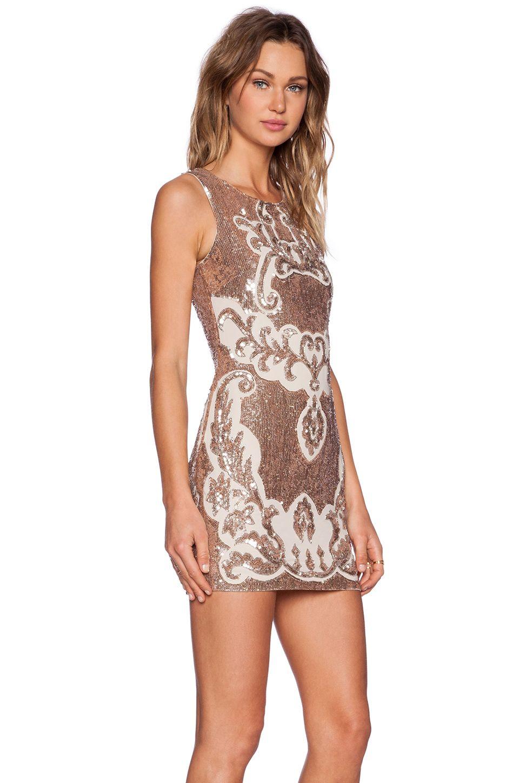 Needle Thread Motif Sequin Dress In Rose Bronze