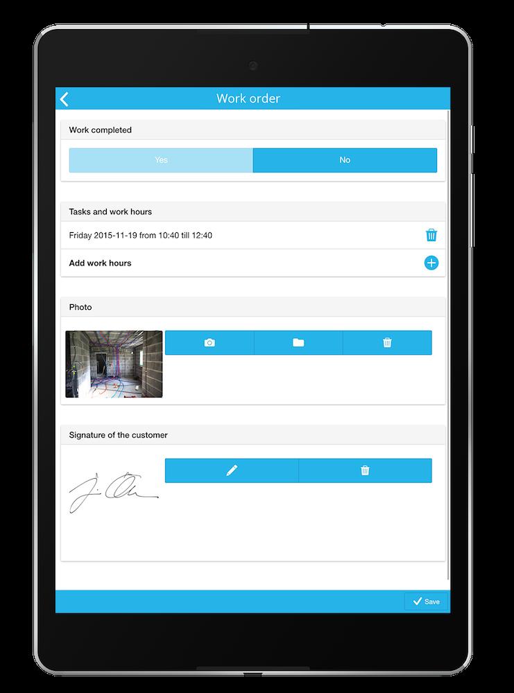 Work Order App Photo signature, App, Digital
