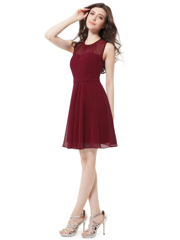 Sleeveless Illusion Neckline Party Dress