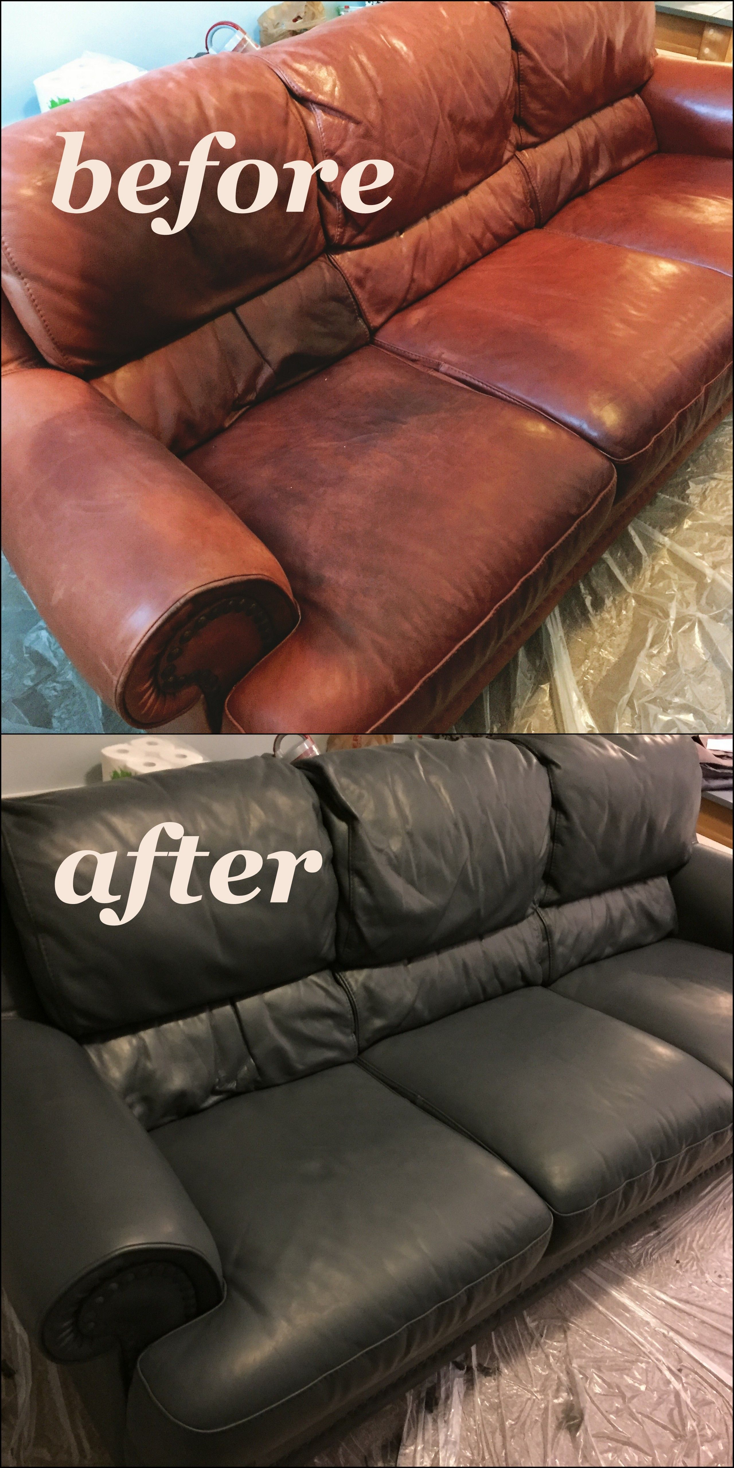Peppercorn Vinyl Leather Finish Leather Chair Makeover