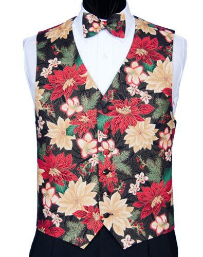 Christmas Red Poinsettia Tuxedo Vest and Bow Tie