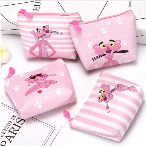 The Pink Panther Pu Zipper Change Purse Women Mini Wallet Pink Panthers Purses Card Bag