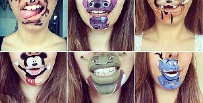Make-up artist created amazing cartoon characters on her CHIN
