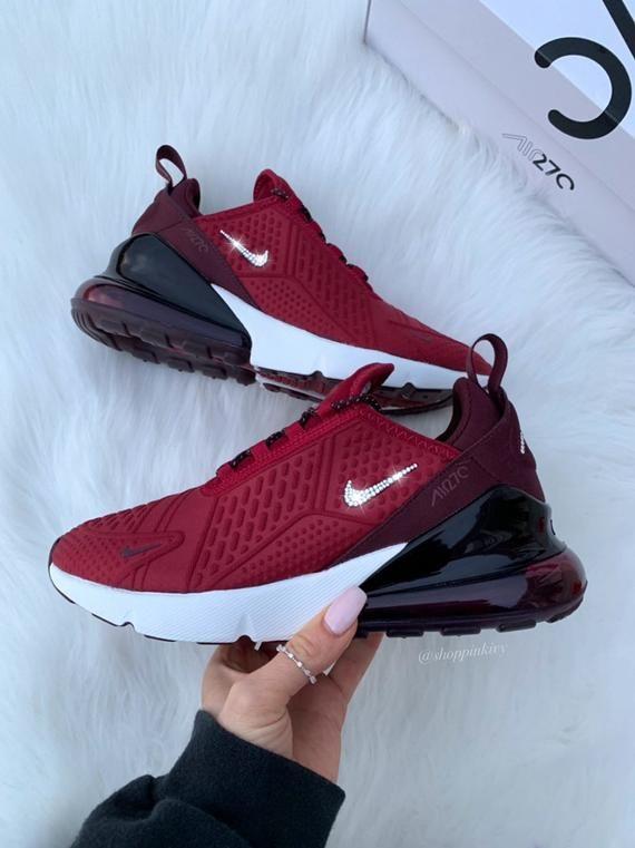 buy online a1f2f 0f6ee Nuovo di zecca in scatola Blinged autentico femminile   Nike di ragazza Air  270 scarpe da corsa. Nike Swoosh è personalizzato con strass di cristallo  ...