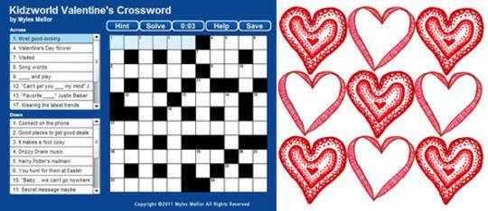 Valentine S Crossword Puzzle Valentines Day Gifts Crossword