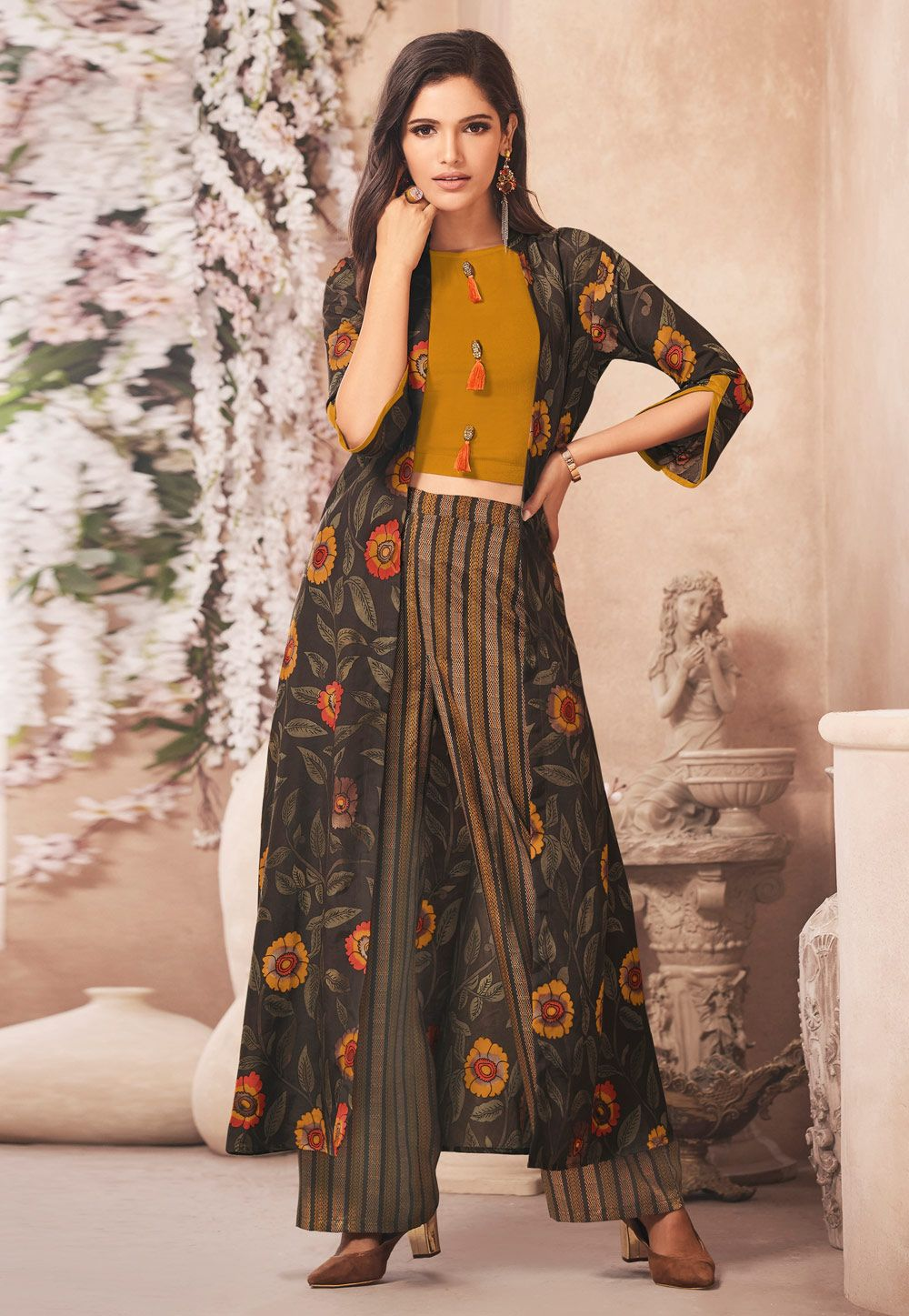 69c81b56de Buy Mustard Rayon Readymade Kameez With Palazzo and Jacket 157561 online at  lowest price from huge collection of salwar kameez at Indianclothstore.com.