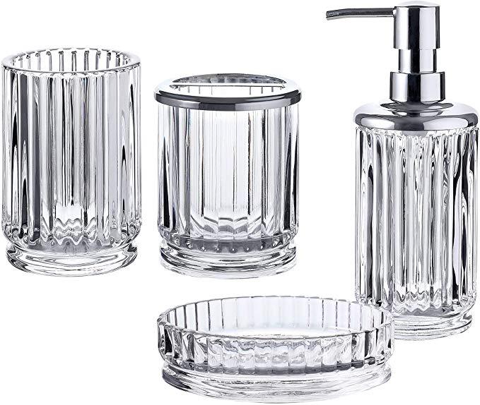 Amazon Com Whole Housewares Bathroom Accessories Set 4 Piece