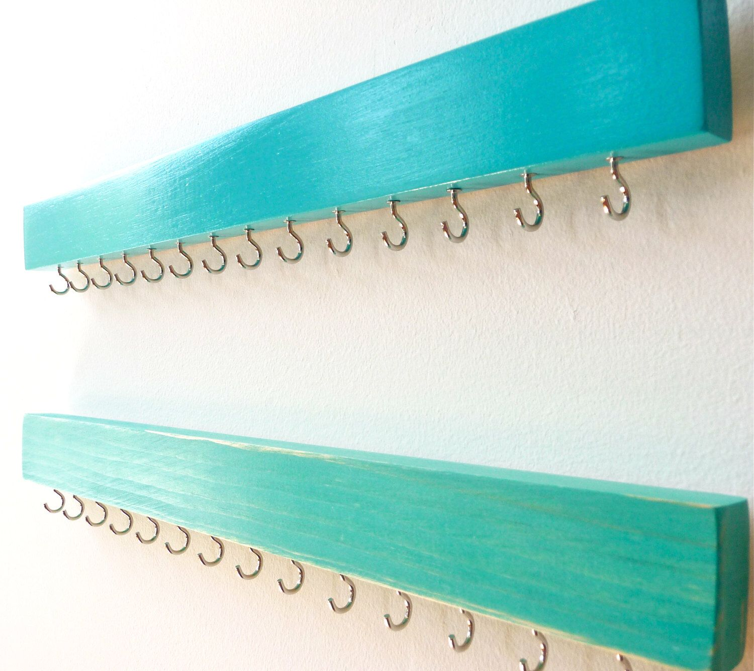 Jewelry Organizer Necklace Holder Wall Turquoise Wood Jewelry