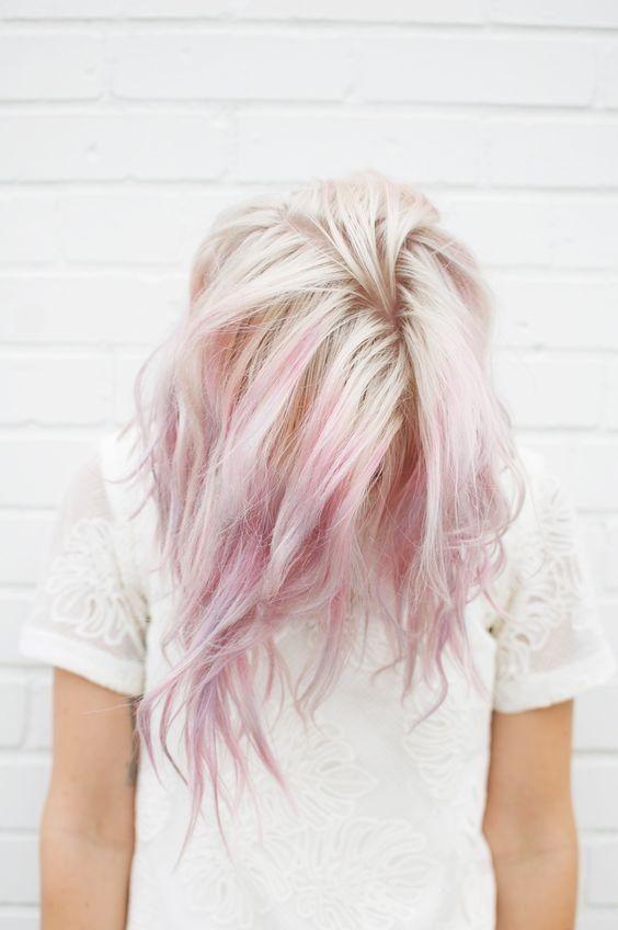 10 hübsche pastellfarbene Haarfarbe-Ideen mit blondem, silbernem, lila und pinkem Glanz …