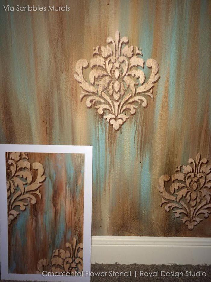 Ornamental Flower Wall Stencil Walls Large Wall Stencil