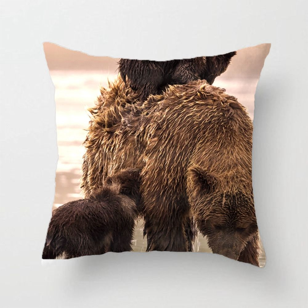 Brown bear in lake clark national park throw pillow case decorative