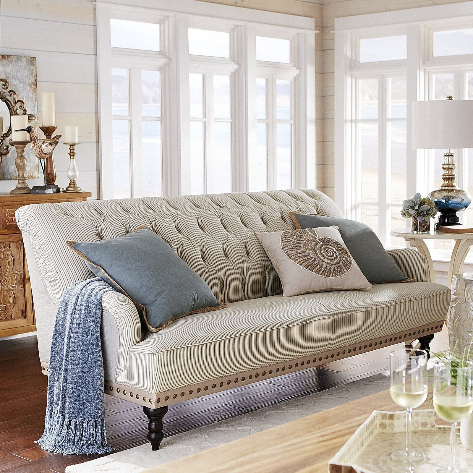 Chas Sofa Seersucker Blue Sunroom Furniture Cottage Living