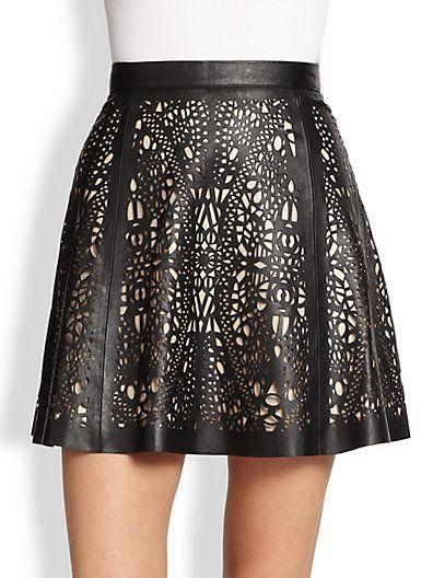 Parker Filomena Laser Cut Leather Skirt Saks
