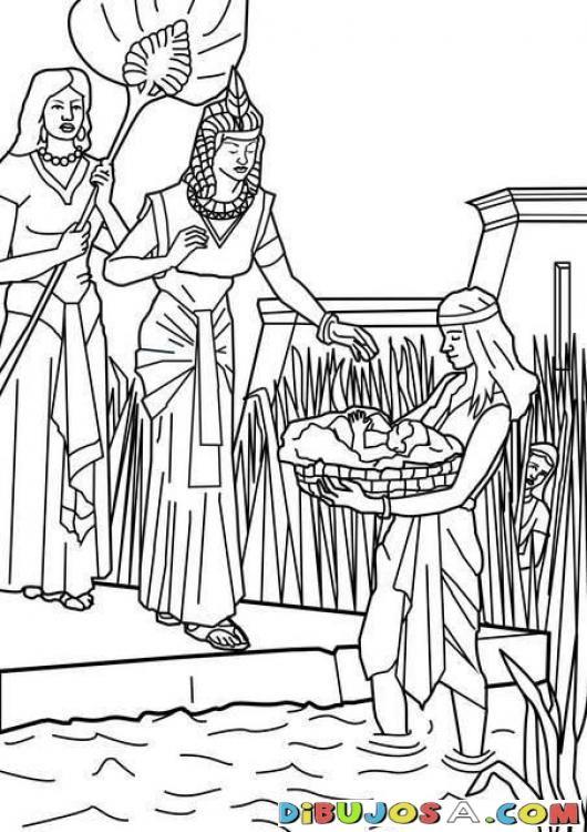 Dibujo de Moises en el rio para colorear | COLOREAR BIBLICOS ...