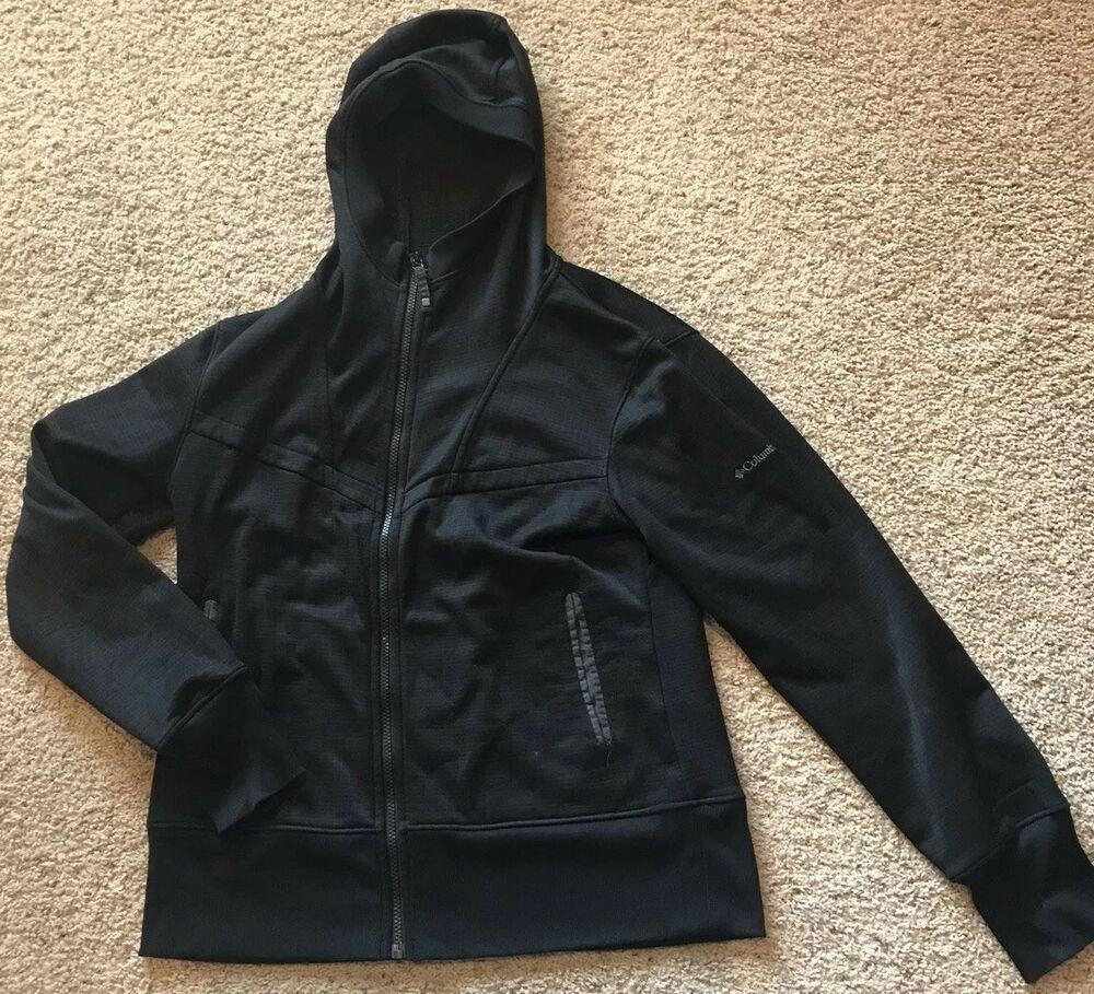 Womens Columbia Jacket Sz L Black Hooded Interchange