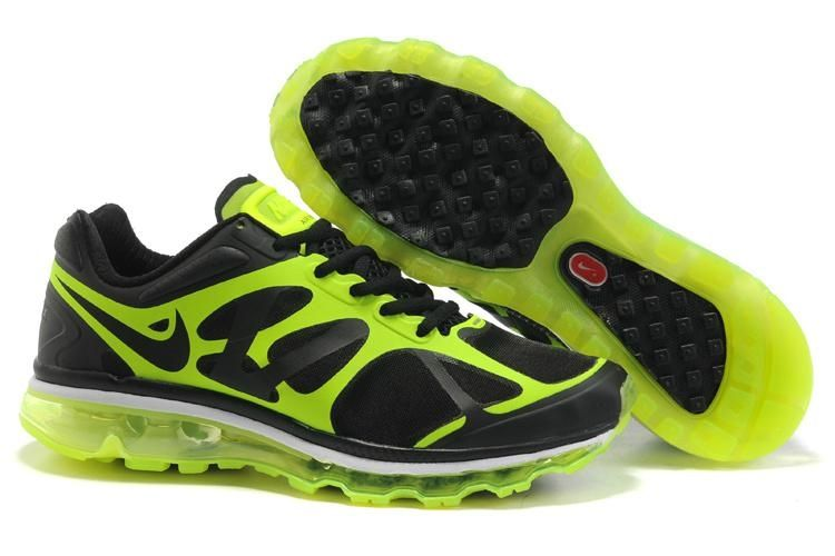 nike air max+ 2012 mens running shoes green\/black dual lands