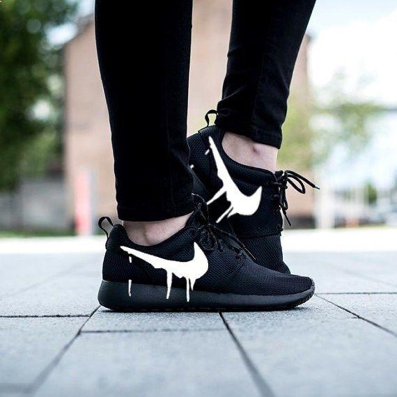 298354b0822d Nike Roshe Run Triple Black with Custom White Candy Drip Swoosh Paint