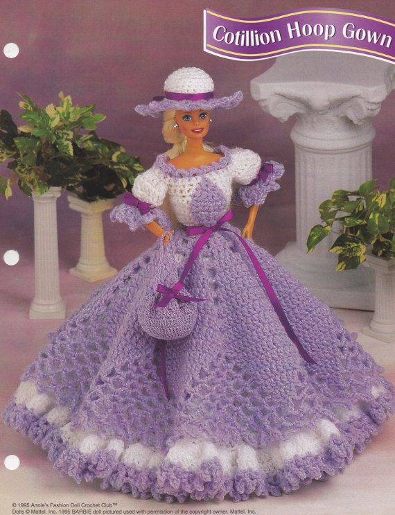 Cotillion Hoop Gown Annies Attic Fashion Doll Clothes Crochet