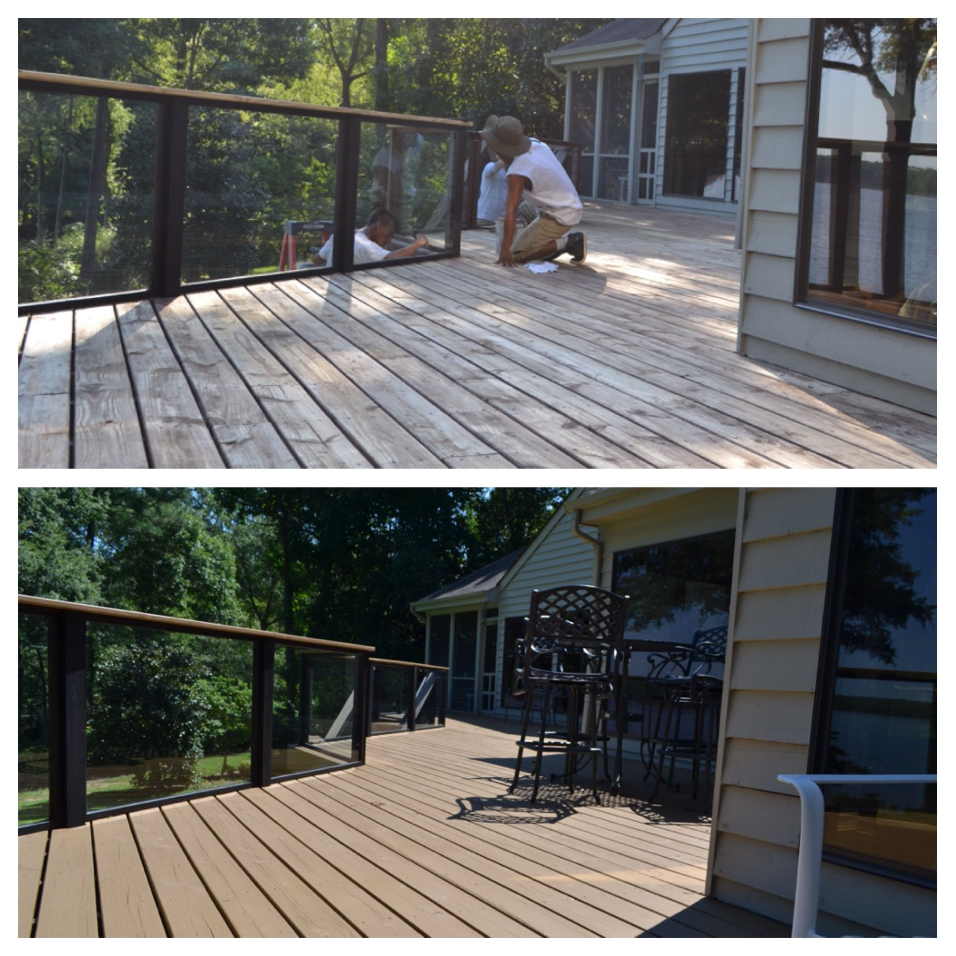 Before and after of deck stain and sealing by envirowash