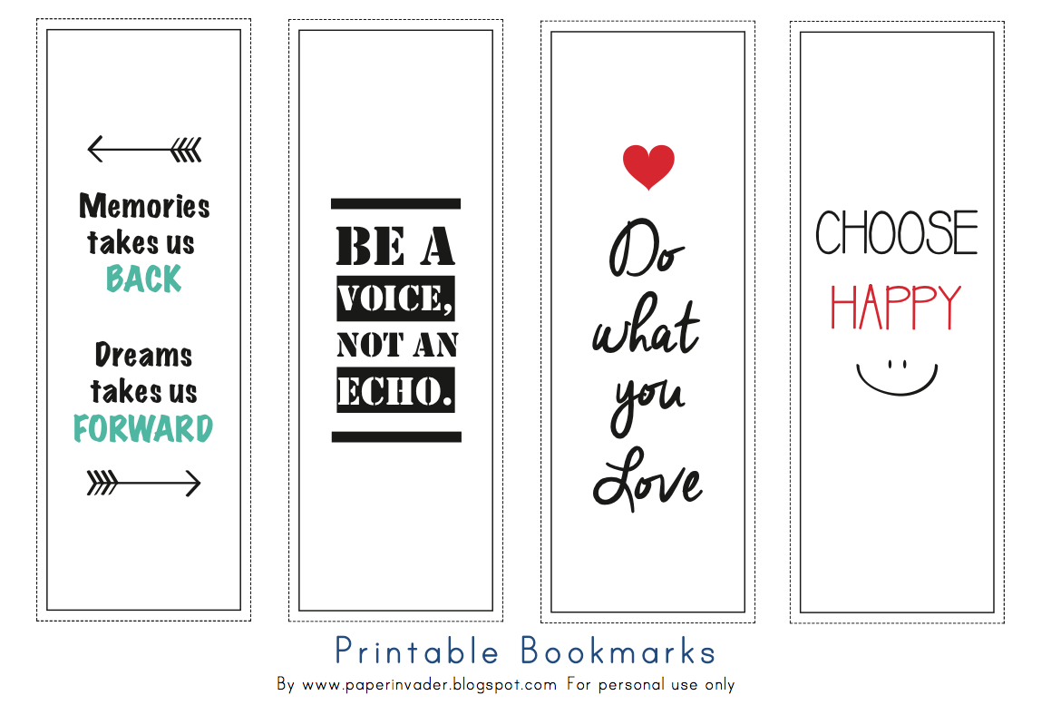 hey invader!! i made 4 simple printable bookmarks for you. the