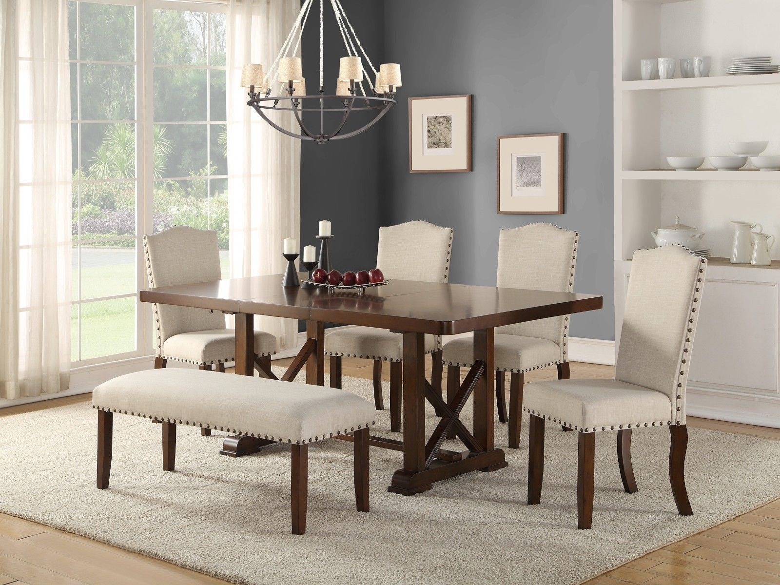 6pc Dining Set Table W Leaf Bench Faux Leather Cushion Chairs