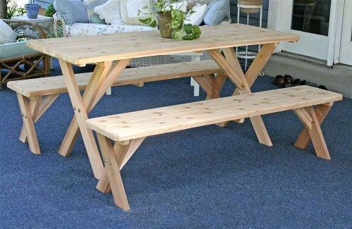 Creek Vine Designs Wf27wcltcb6cvd Red Cedar 27 In Wide 6 Ft Backyard Bash Cross Legged Picnic Table With Detached Benches Picnic Table Table Bench Set Outdoor Dining Set