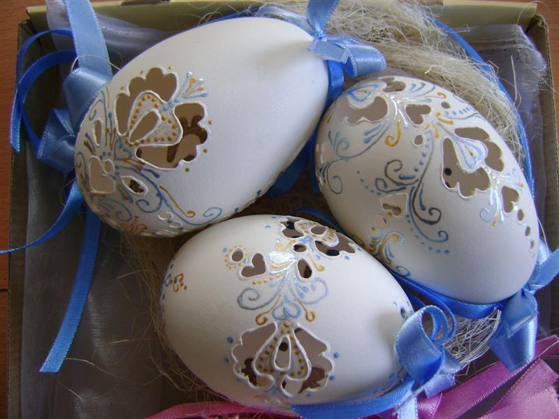 Husacie vajička maľované a madeira, Veľkonočné dekorácie   Artmama.sk