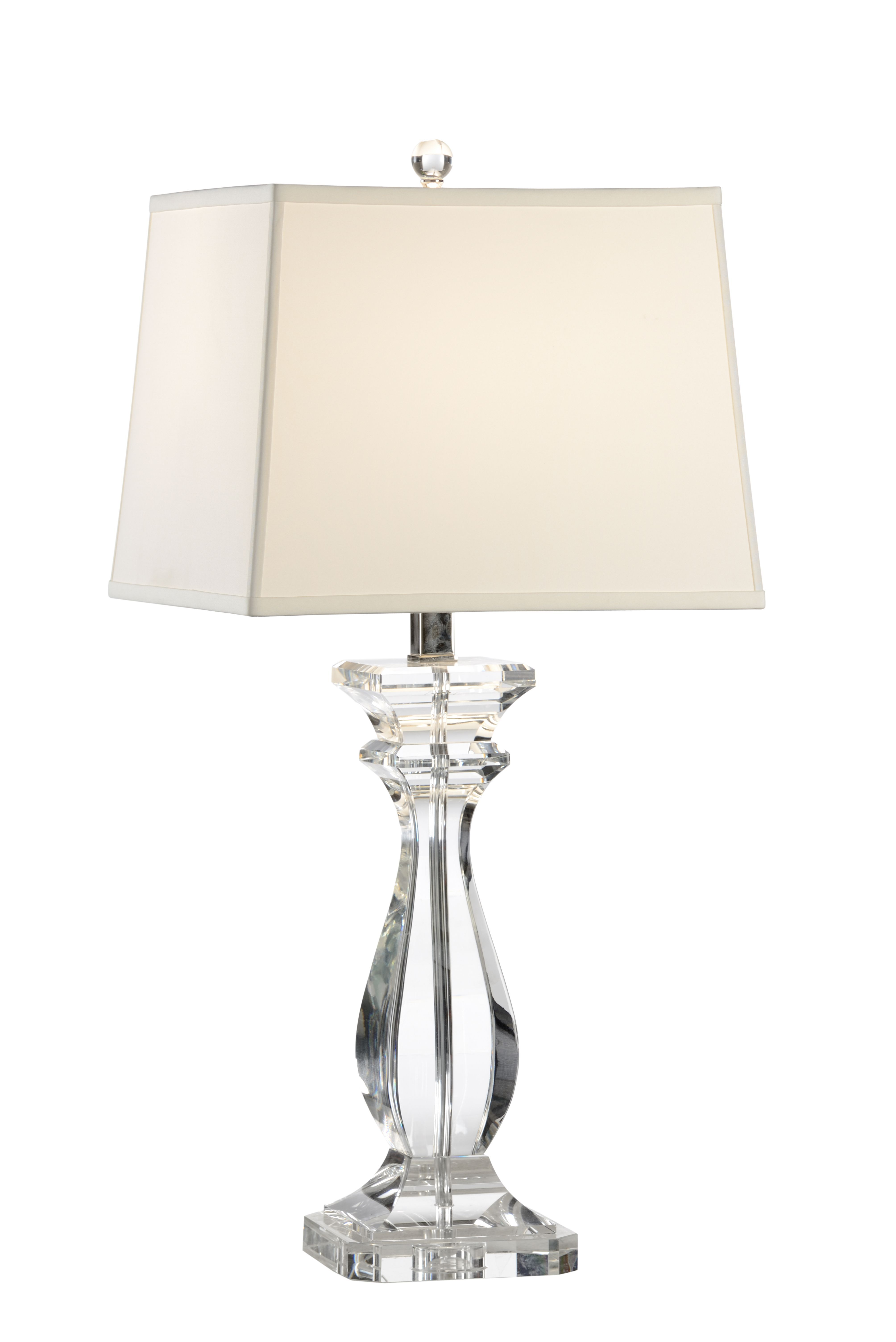 This Lovely Lamp Features A Solid Crystal Base With Polished