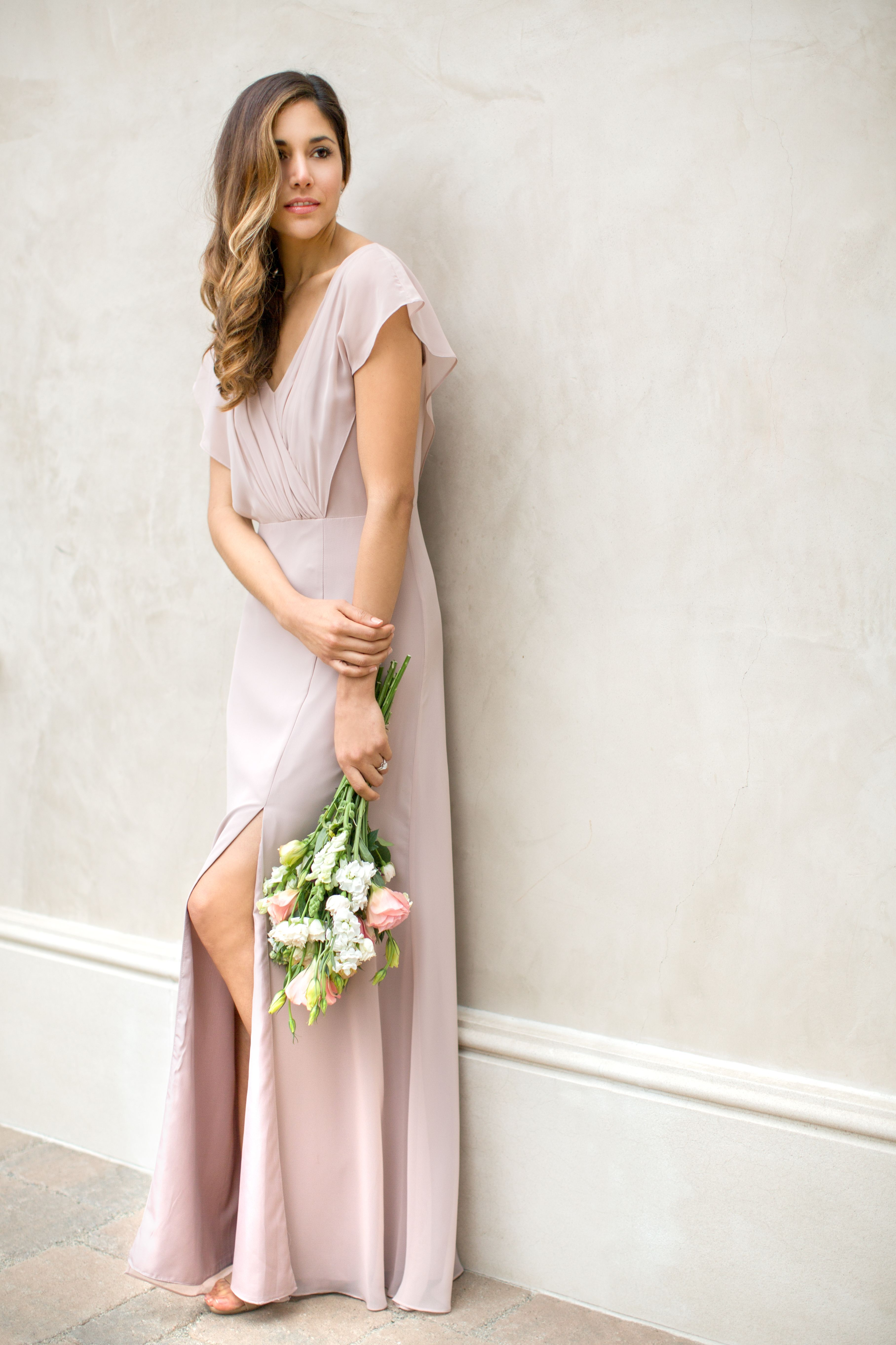 Red carpet style and romance come to life in this airy full a floor length sleeved chiffon bridesmaid dress with cutout back in six colors affordable designer bridesmaid dresses to buy or rent at vow to be chic ombrellifo Images