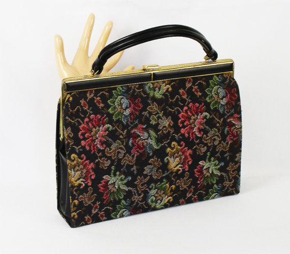 Vintage Tapestry Kelly Handbag Large and Colorful by Dover
