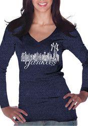 NY Yankees Womens Navy Blue Skyline T-Shirt