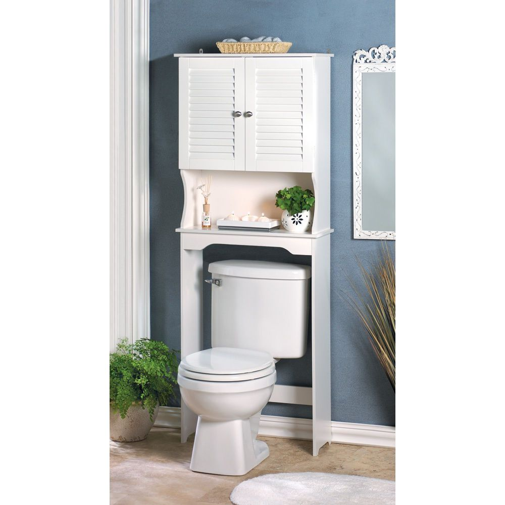 Brand NEW BATHROOM STORAGE CABINET WHITE WOOD OVER THE TOILET SPACE ...