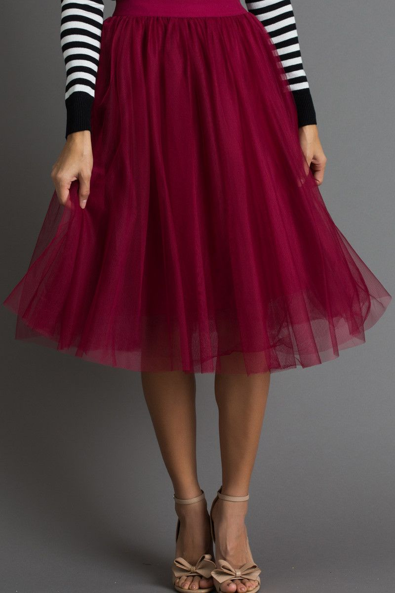 a8a20c7afe Eloise Burgundy Tulle Midi Skirt fashion in 2018 t Skirts