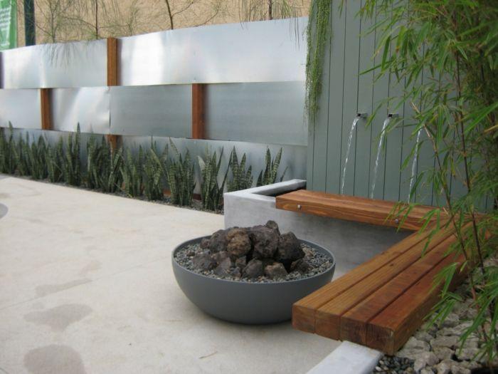 gartenbrunnen dekorativ gartendeko ideen pflanzen | für Garten ...