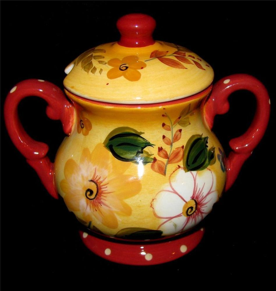Oneida Sunset Bouquet Sugar Bowl Amp Lid Notched Lid For