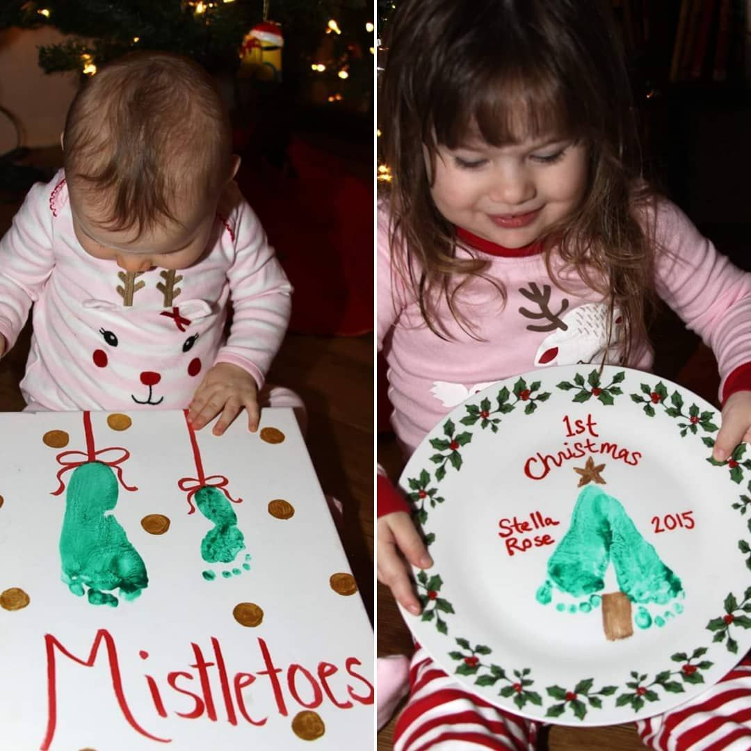 DIY Baby's First Christmas Footprint Plate and Mistletoes Craft - #Babys #christmas #Craft #diy #Footprint #Mistletoes #Plate #mistletoesfootprintcraft