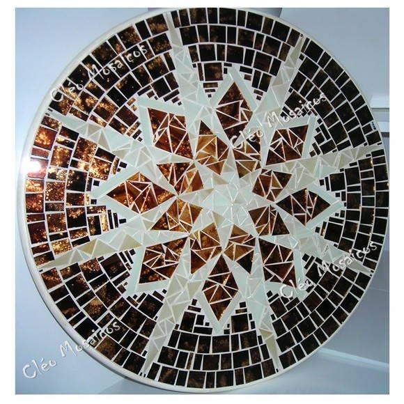 Centro De Mesa Giratorio Em Mosaico De Vidro Base Em Mdf12mm