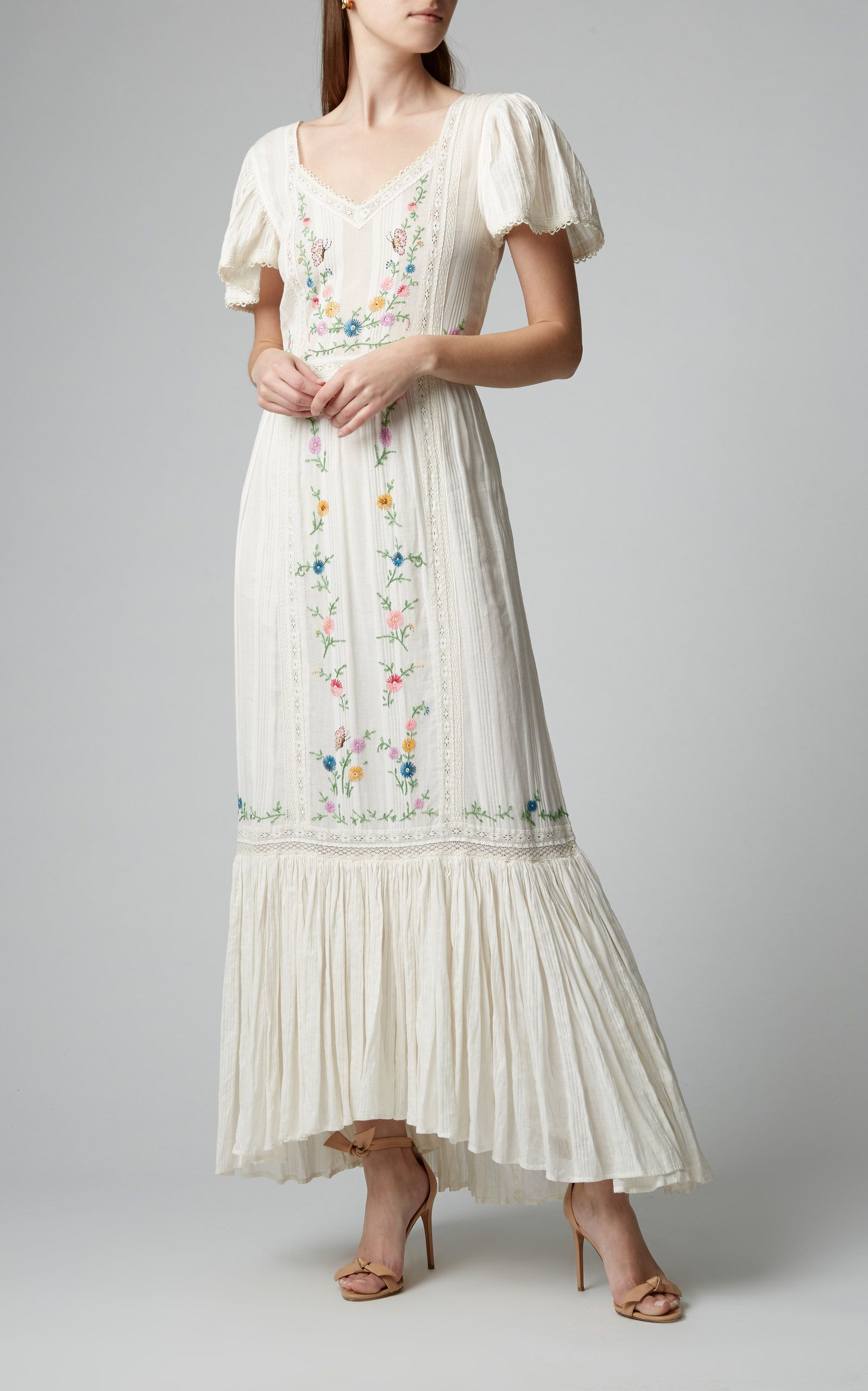 LoveShackFancy Damia Floral-Embroidered Cotton Maxi Dress Size: 0 #dressesforengagementparty