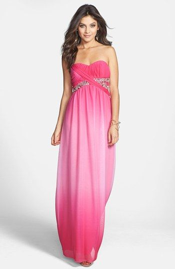 Way In Strapless Embellished Gown Juniors Available At Nordstrom